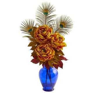 Nearly Natural Peony Artificial Arrangement in Blue Vase
