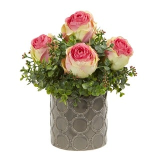 Nearly Natural 11-inch Roses and Eucalyptus Artificial Arrangement in Designer Vase