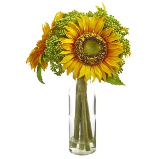 Nearly Natural 12-inch Sunflower Artificial Arrangement in Vase