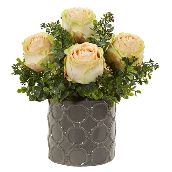 Nearly Natural 11-inch Roses and Eucalyptus Artificial Arrangement