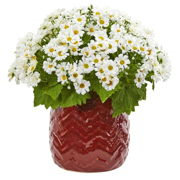 Nearly Natural Artificial Daisy Arrangement in Red Ceramic Planter