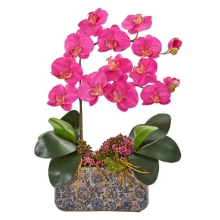 Nearly Natural Phalaenopsis Orchid Artificial Arrangement in Ceramic Vase