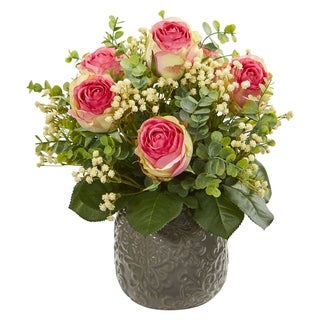 Nearly Natural Rose, Eucalyptus and Gypsophillia Artificial Arrangement