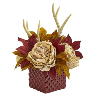 Nearly Natural Artificial Peony and Antlers Arrangement in Red Ceramic Vase