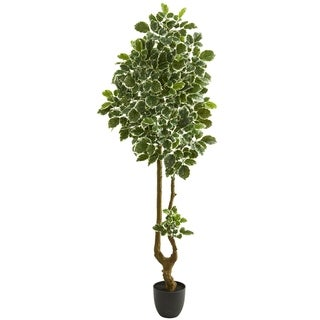 Nearly Natural Variegated Aralia 6.5-foot Artificial Tree