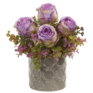 Nearly Natural 11-inch Roses and Eucalyptus Artificial Arrangement in Ceramic Designer Vase