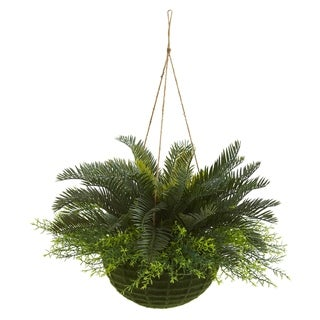 Nearly Natural Artificial Cycas Indoor/ Outdoor Plant in Mossy Hanging Basket