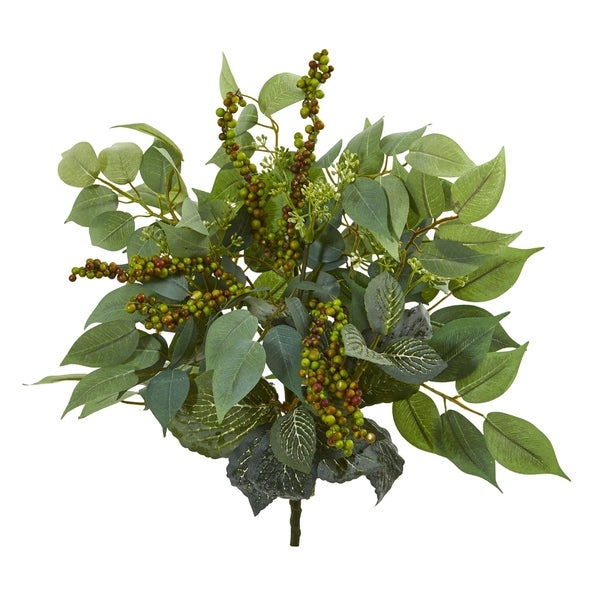 Nearly Natural 14-inch Mixed Ficus, Fittonia, and Berries Bush Artificial Plant (Set of 6)