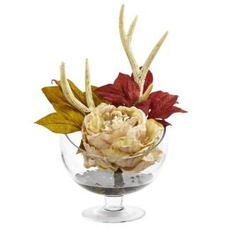 Peony Artificial Arrangement in Glass Pedestal Vase