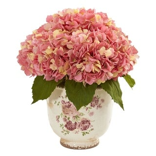 Nearly Natural Giant Hydrangea Artificial Arrangement in Floral Vase