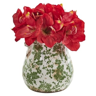 Nearly Natural Amaryllis Artificial Arrangement in Floral Print Vase