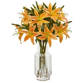 Nearly Natural Lily Orange/ Yellow Artificial Arrangement in Glass Vase
