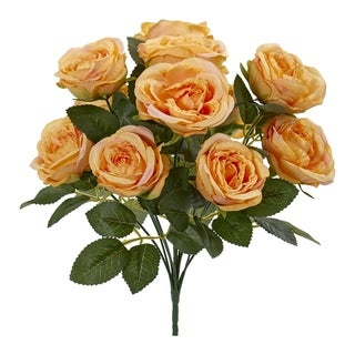 Nearly Natural Green Rose Bush Artificial Flowers (Set of 6)