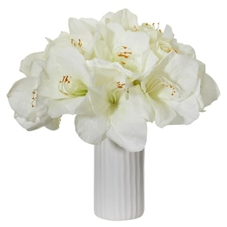 Nearly Natural Amaryllis Artificial Arrangement in White Ceramic Vase