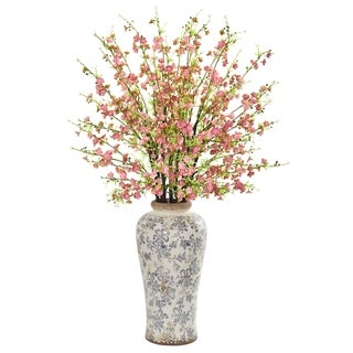 Nearly Natural 37-inch Cherry Blossom Artificial Arrangement in Decorative Vase