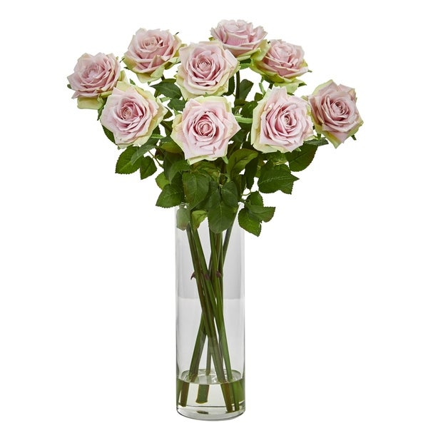 Nearly Natural Pink/ Green 19-inch Artificial Rose Arrangement in Cylinder Vase