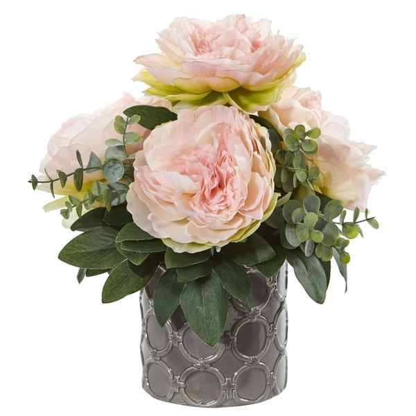 Nearly Natural 13-inch Peony and Eucalyptus Artificial Arrangement