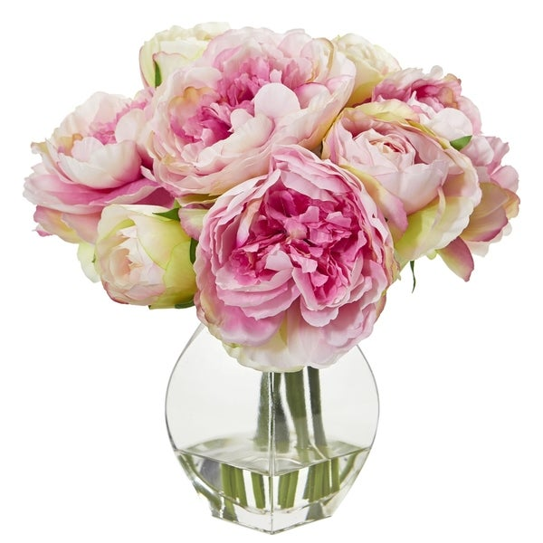 Nearly Natural Pink/Yellow Artificial Peony Arrangement in Clear Glass Vase