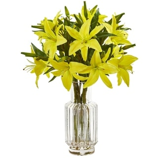 Nearly Natural Lily Artificial Arrangement in Glass Vase
