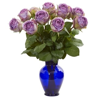 Nearly Natural 20-inch Rose Artificial Arrangement in Blue Vase