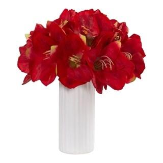Amaryllis in White Vase Artificial Arrangement