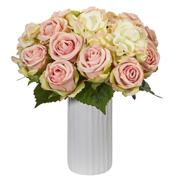 Nearly Natural Rose and Hydrangea Artificial Arrangement in White Vase
