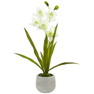 Nearly Natural Cymbidium Orchid Artificial Arrangement in Ceramic Vase