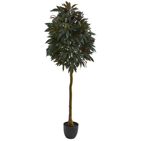 Nearly Natural 6-foot Red Mango Leaf Artificial Tree