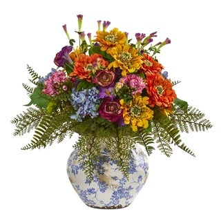 Nearly Natural Mixed Floral 15-inch Artificial Arrangement in Floral Vase