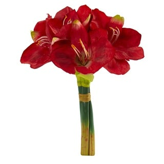 Amaryllis Bouquet 14-inch Artificial Flowers (Set of 3)