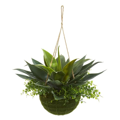 Nearly Natural Artificial Agave and Maiden Hair Indoor/Outdoor Plant in Hanging Basket