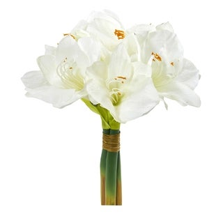 Nearly Natural 14-inch Amaryllis Bouquet Artificial Flower (Set of 3)