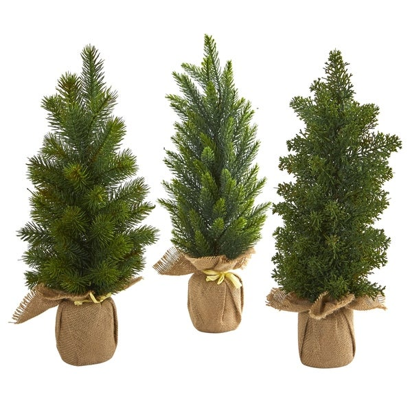 Nearly Natural 15-inch Mini Cypress and Pine Artificial Tree (Set of 3)