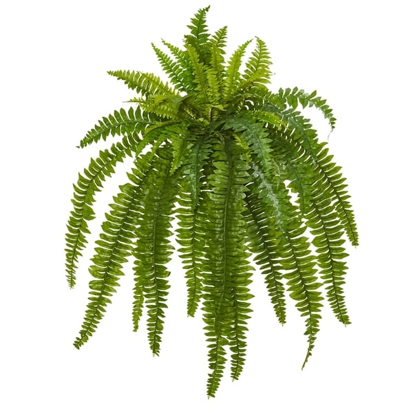 Gold Nearly Natural 18in Set of 12 Silk Plants Metallic Boston Fern Artificial