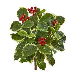 Nearly Natural Real Touch 14-inch Articial Variegated Holly Leaf Plant (Set of 12)