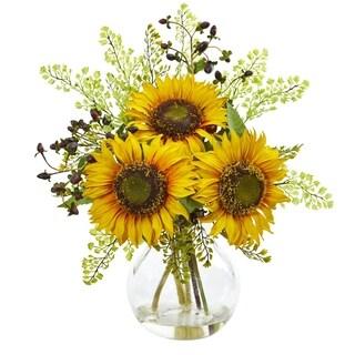 Nearly Natural Sunflower Clear Glass Vase Artificial Arrangement