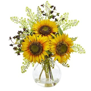 Nearly Natural Sunflower Clear Glass Vase Artificial Arrangement