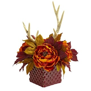 Nearly Natural Peony and Antlers Artificial Arrangement in Red Ceramic Vase