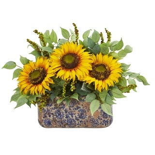 Nearly Natural Sunflower and Mixed Greens Artificial Arrangement in Ceramic Vase