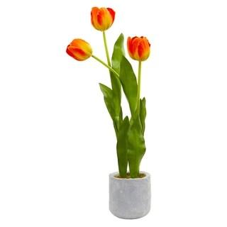 Nearly Natural Tulip Artificial Arrangement in Ceramic Vase
