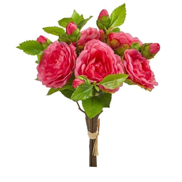 "11"" Camellia Artificial Flower Bouquet (Set of 4)"