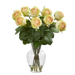 Nearly Natural 19-inch Rose Artificial Arrangement