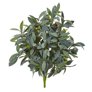 Nearly Natural 21-inch Olive Bush and Berries Artificial Plant (Set of 3)