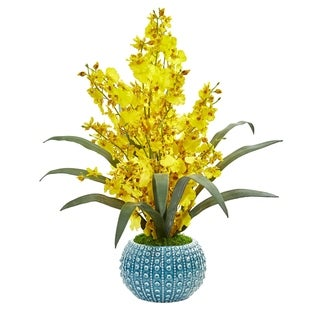 Nearly Natural 20-inch Dancing Lady Orchid Artificial Arrangement in Blue Vase