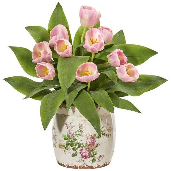 Nearly Natural Tulip Artificial Arrangement in Floral Design Vase