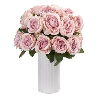 Nearly Natural Rose Artificial Arrangement in White Vase