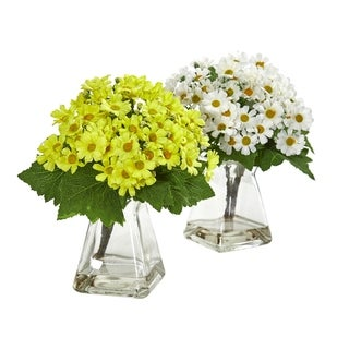 Nearly Natural Daisy Clear Glass Vase Artificial Arrangement (Set of 2)