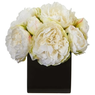 Nearly Natural Peony Artificial Flower Arrangement in Black Ceramic Vase