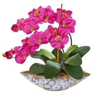Nearly Natural Phalaenopsis Orchid Pink/Green Ceramic Bowl Artificial Arrangement