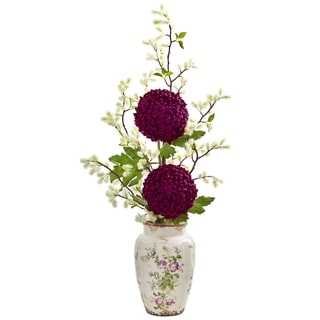 Nearly Natural 39-inch Mum and Thistle Artificial Arrangement